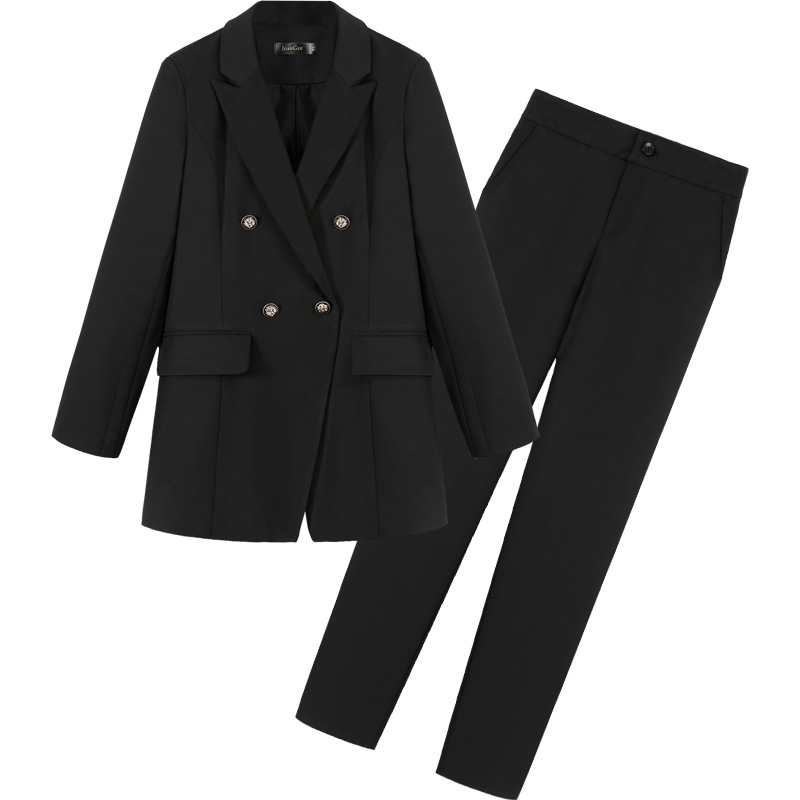 1449.06руб. 30% СКИДКА|Высокое качество, профессиональные женские костюмы, брючный костюм, осенний Новый большой размер, тонкий черный женский маленький костюм, женские тонкие брюки 2019|Брючные костюмы| |  - AliExpress