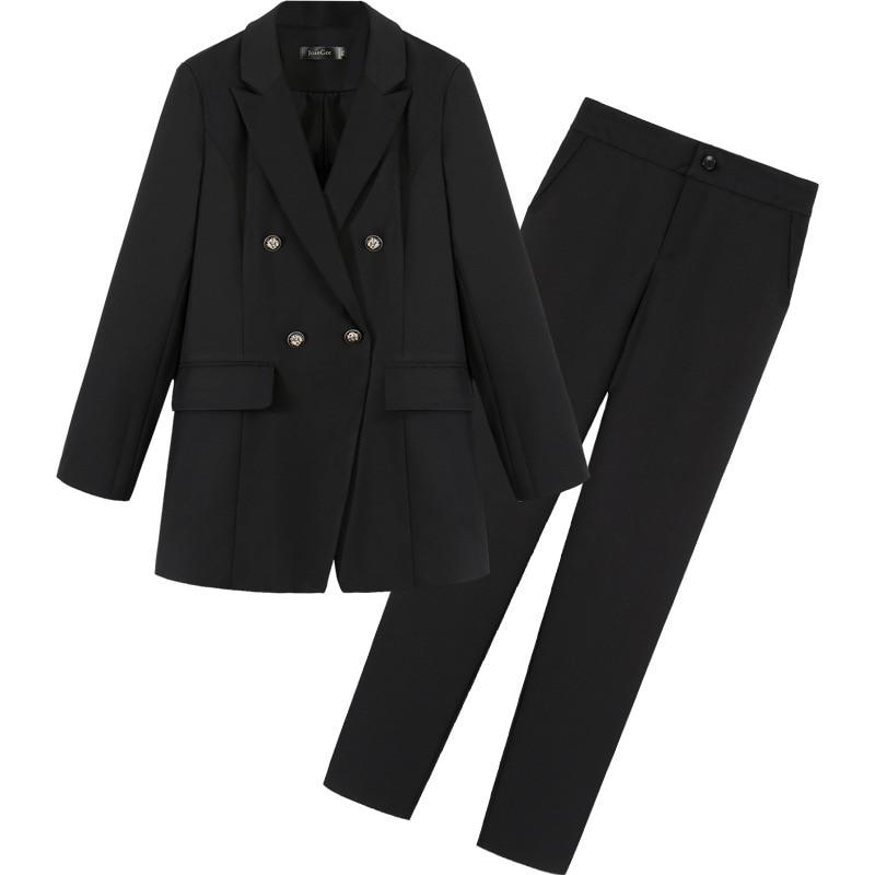 High Quality Professional Women's Suits Pants Suit Autumn New Large Size Slim Black Ladies Small Suit Female Slim Trousers 2019