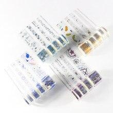 Domikee bonito kawaii folha transparente animal de estimação decorativo diy diário planejador conjunto de fita de máscara washi artigos de papelaria 5 pçs