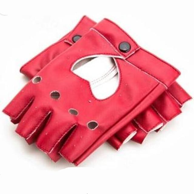 Fashion Women Punk Leather Driving Biker Fingerless Mittens Dance Motorcycle Gloves Sports Fitness Gloves 4