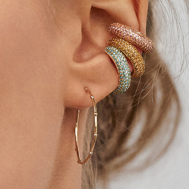 2019 New Fashion Pearl Ear Cuff Bohemia Stackable C Shaped CZ Rhinestone Small Earcuffs Clip Earrings for Women Wedding Jewelry 3