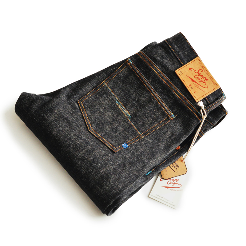 SAUCE ORIGIN Ltd Edition Japanese Okayama Fabric Zimbabwe Colored Cotton Mens Jeans Brand Raw Jeans Selvedge Jeans Blue Jeans