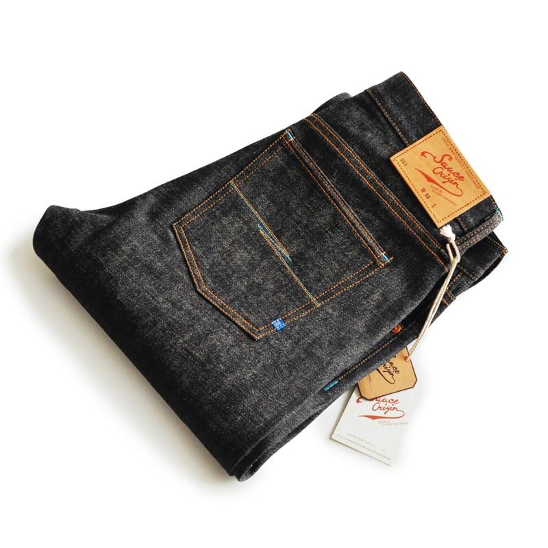 SAUCE ORIGIN Ltd Edition Japanese Okayama Fabric Zimbabwe Colored Cotton Mens Jeans Brand Raw Jeans Selvedge Jeans Blue Jeans