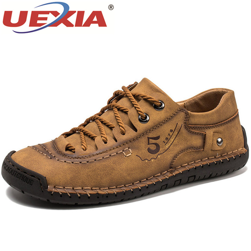UEXIA Men Shoes Microfiber Leather Hand Stitching Non-slip Comfort Walking Sneakers Handmade Soft Casual Flats Driving Footwear