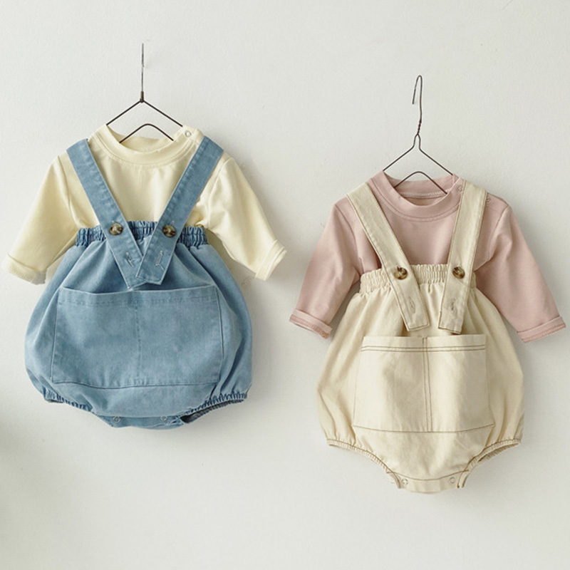 By Girl Clothes Baby Boy Outfits Clothes Set Cowboy Big Pocket High Waist Pack Lantern Strap Shorts + Long-sleeved T-shirt Set