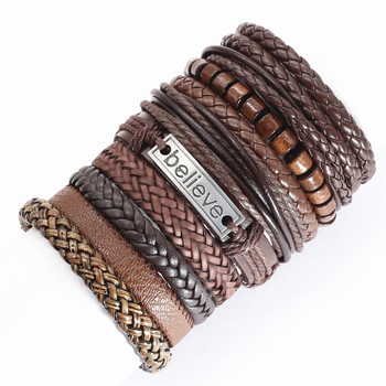 Set of 10pcs ethnic leather bracelets for men and women in various designs