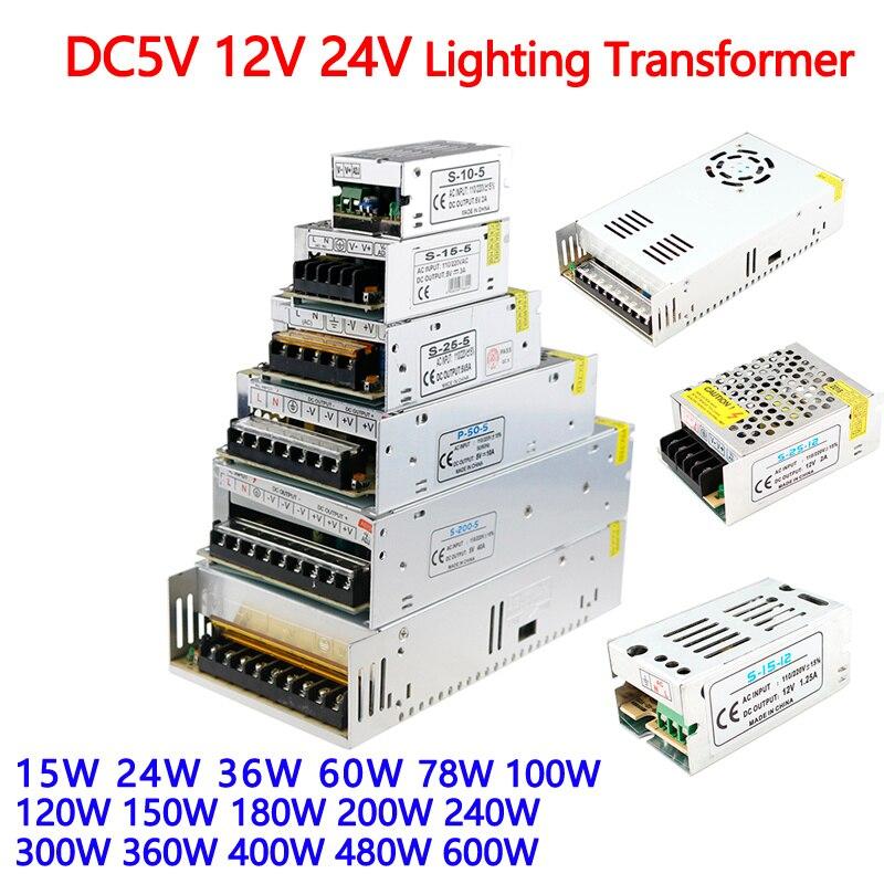 12V Power Supply 12v 5a 5v 24v Lighting Transformers 1A 2A 3A 5A 10A 15A 20A 25A 30A 40A 50A 60A Led Driver For Leds