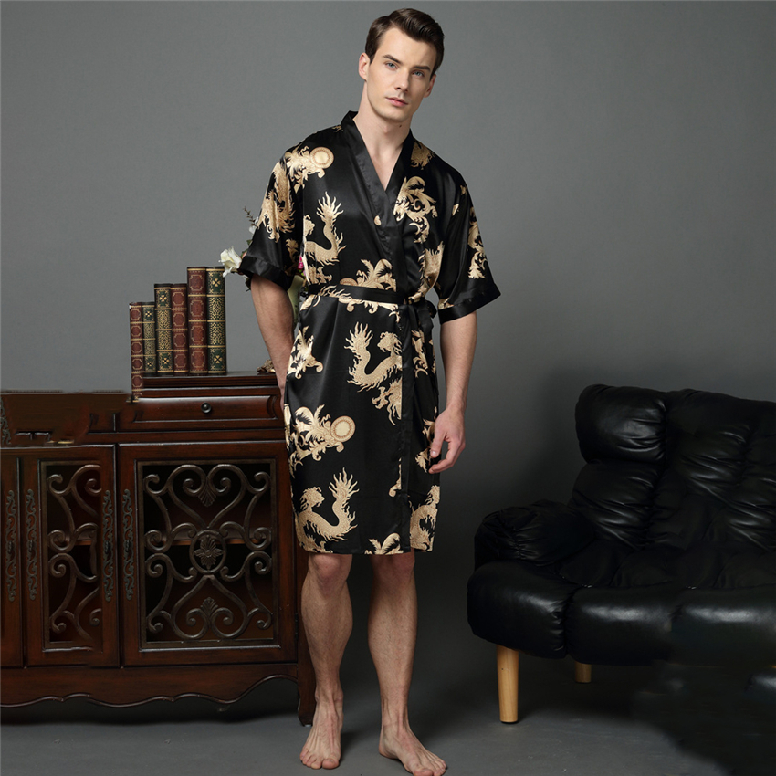 Men Kimono Satin Japanese Male Samurai Costume Japan Chinese Dragon Pajamas Haori Asian Clothes Night Gowns Home Party Yukata