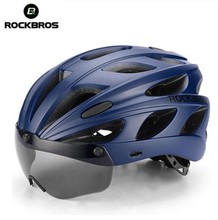 ROCKBROS Integrally-molded Bicycle Helmets Ultralight Magnetic Goggles MTB Mountain Road Cycling With Glasses 57-62 CM