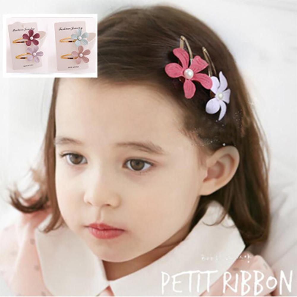 Hot Sale Solid Floral Baby Hair Clips Handmade Peral Metal Hairpins For Girls Japanese and Korean Air Hair Accessories Newborn