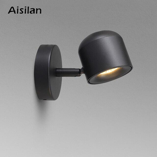 Aisilan duvar lambası Modern tarzı duvar lambası ayarlanabilir siyah/beyaz 7W başucu yatak odası ayna ışık koridor aplik AC90 220V