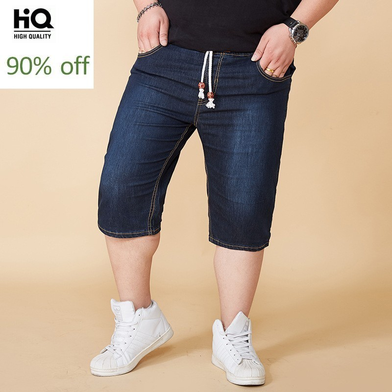 Mens Plus Size Summer Fashion Elastic Waist Stretch Jeans Knee Length Drawstring Breeches Baggy Short Pants Roupa Masculina