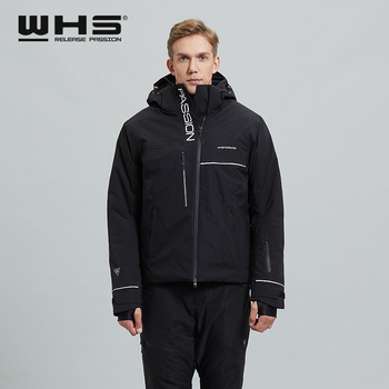 WHS New Mens Ski Jacket Thermal Fashion Color Matching Windproof Waterproof Outdoor Sports Wear Cotton