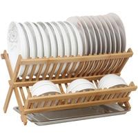 Bowl shelf tableware rack double layer kitchen drain rack bamboo dish rack storage rack kitchen appliances