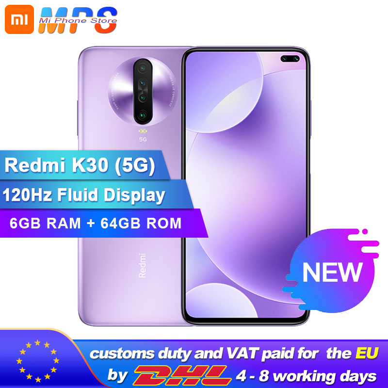 "Original Xiaomi Redmi K30 5G 64GB 6GB Snapdragon 765G Octa Core Smartphone 6.67"" 64MP Quad Rear Camera 4500mAh"