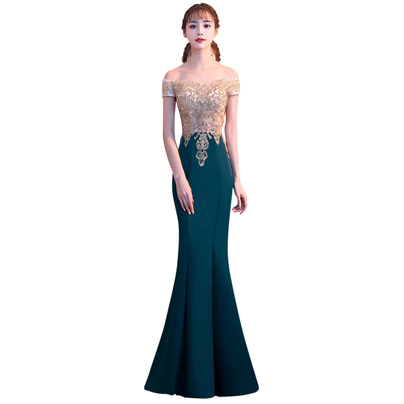 Evening Dress Boat Neck Embroidery Sequin Robe De Soiree Women Party Dresses Off The Shoulder Elegant Formal Gowns 2019 F115