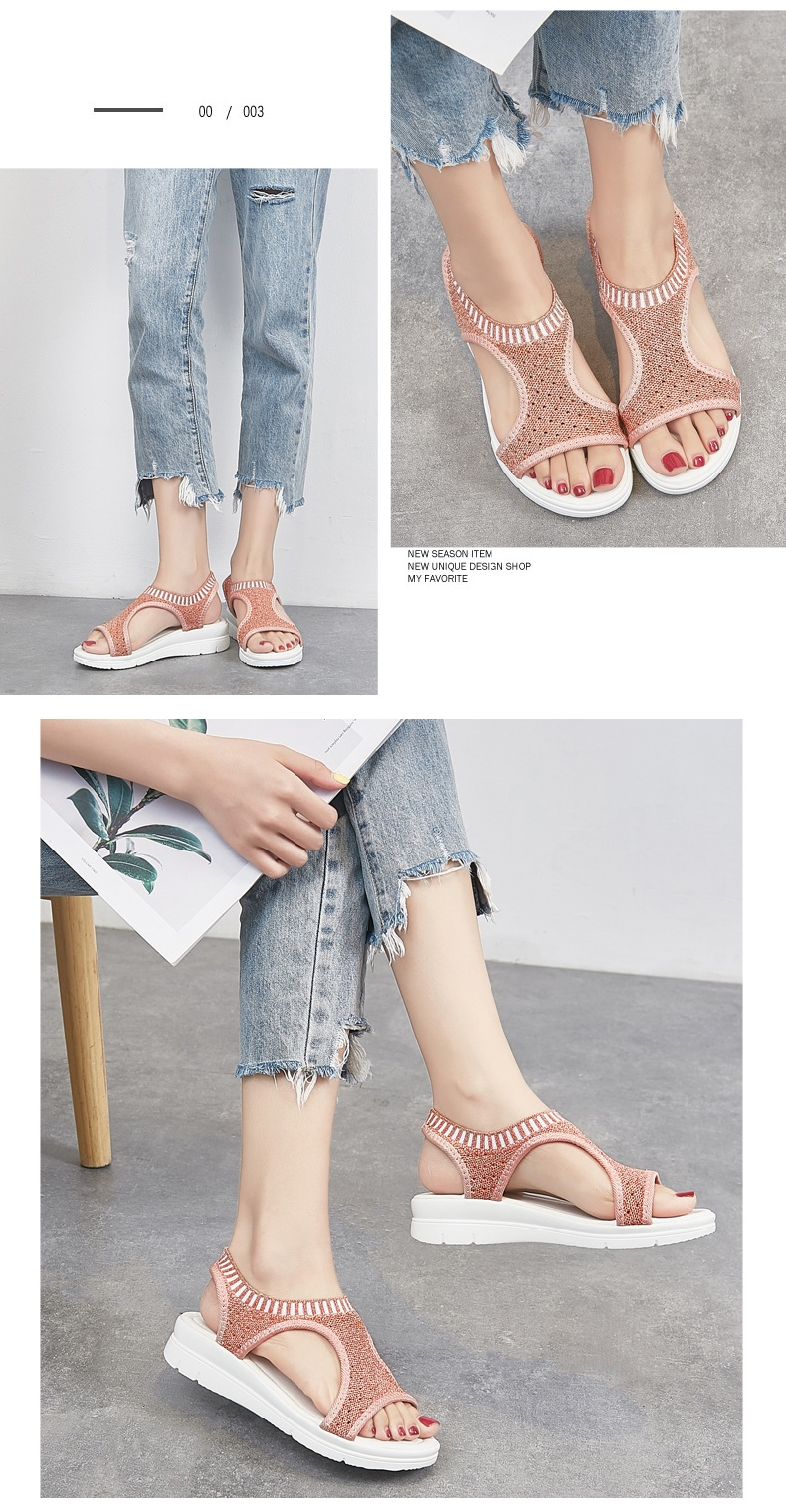 Hdb40d0c855764b839dc694e0cc132415p WDZKN 2019 Sandals Women Summer Shoes Peep Toe Casual Flat Sandals Ladies Breathable Air Mesh Women Platform Sandals Sandalias