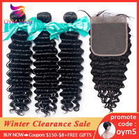 OYM HAIR Malaysian Deep Wave Bundles With Closure Non Remy Human Hair 3 and 4 Bundles With Lace Closure Hair Extension