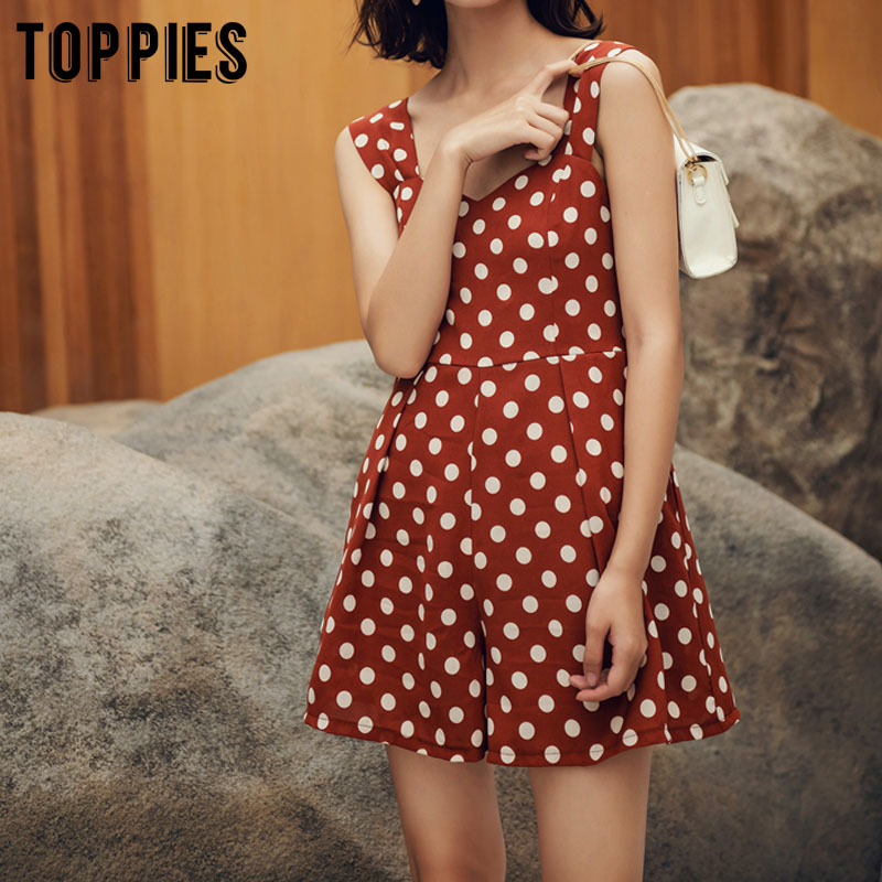 2020 Summer Polka Dot Printing Jumpsuit Women Rompers Korean Fashion Vacation Playsuits