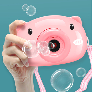 Bubble Machine Cartoon Pig Camera Toys Soap Bubbles Gun for Kids Set Outdoor Automatic Maker Gift