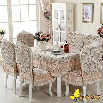 Luxurious Europe Style  Cotton Table Cloth Rectangular Lace Edge Tablecloth Letter Printed Dustproof Table Covers toalha de mesa