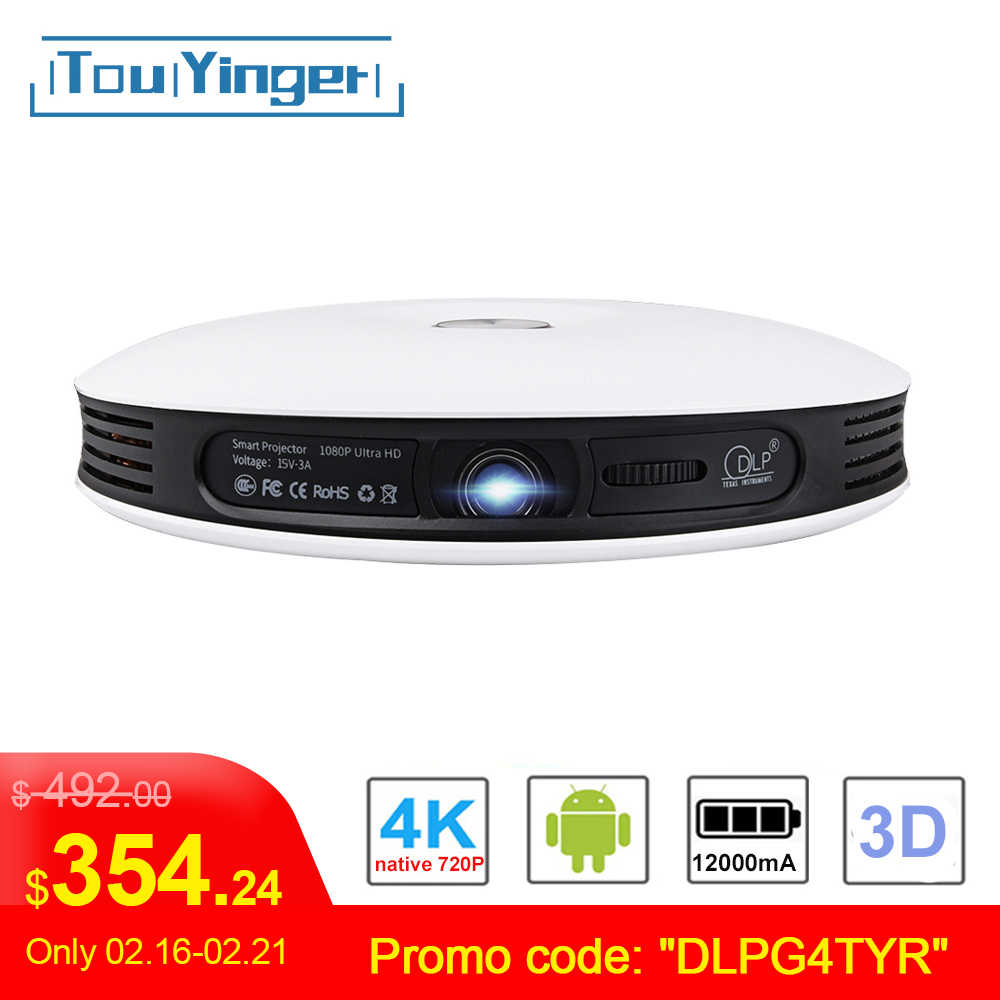 TouYinger G4 Mini 2D do 3D projektor dlp dane pokaż Android Full HD 4K wideo wifi Bluetooth HDMI przenośne kino domowe Beamer Zoom