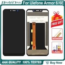 Bingyening para ulefone armadura 6 6e lcd & digitador da tela de toque com moldura da tela do telefone acessórios montagem substituição
