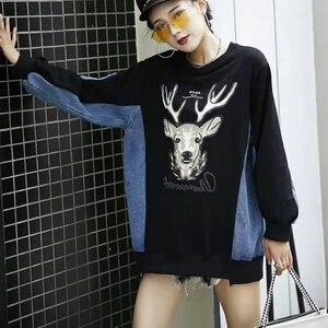 Женский пуловер, платье-толстовка с принтом оленя, лоскутные дизайнерские джинсы, уличная одежда, женские толстовки, Рождество, Харадзюку