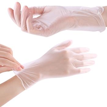 Przezroczysty 100 sztuk jednorazowe rękawice pcv z tworzywa sztucznego do mycia naczyń grillowanie rękawice kuchenne łazienka gospodarstwa domowego rękawice do sprzątania tanie i dobre opinie CN (pochodzenie) Disposable PVC Gloves Garden Gloves Universal For Left and Right Hand AMZ8836