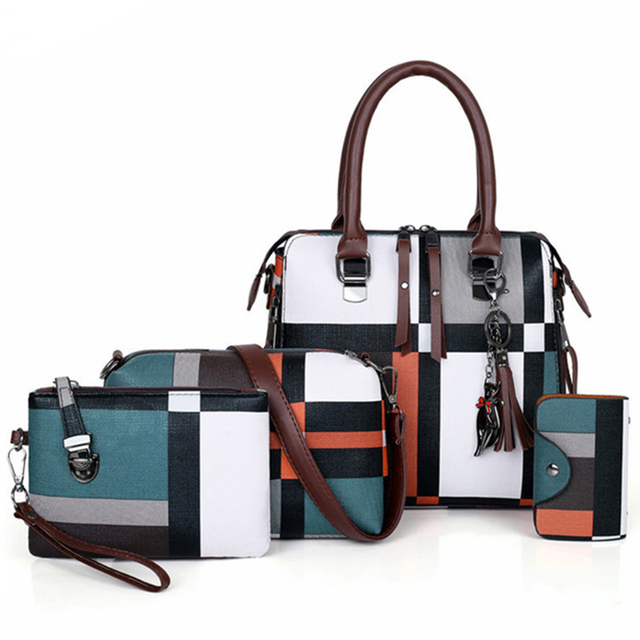 New 4pcs/Set Women Bags High Quality  Leather Shoulder Messenger Bags Tote Bag 1
