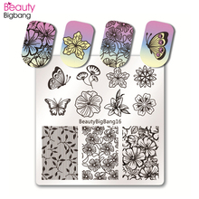 BeautyBigBang 6*6cm Square Nail Stamping Plate Lace Flower Art Accessories Template Image Stencils Mold