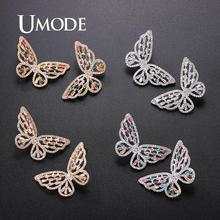 UMODE Korean Butterfly Earrings for Women Vintage Cute Stud Earrings Luxury Zircon Wedding Earrings