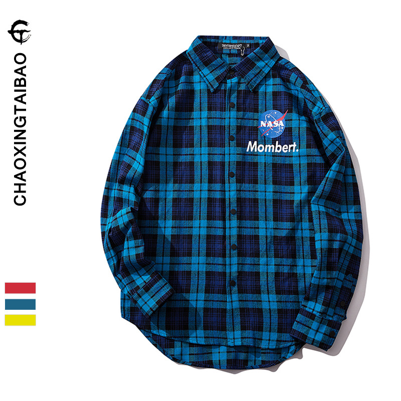 Europe And America Popular Brand <font><b>Oversize</b></font> Loose Plaid 3M Reflective Stripe <font><b>Shirt</b></font> Autumn New Products Main Push <font><b>Korean</b></font> <font><b>Style</b></font> <font><b>Men</b></font> image