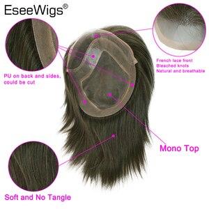 Image 3 - Éseewigs toupee masculino cor natural 8x10 remy peruca de cabelo humano para homens em linha reta mono net suíço laço frente peruca pele plutônio em torno
