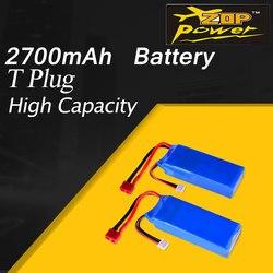 2Pcs ZOP Power 7.4V 2700mAh 20C 2S Lipo Battery with T Plug For Wltoys 10428-A 10428-B 10428-B2 1/10 RC Crawler Car FT012