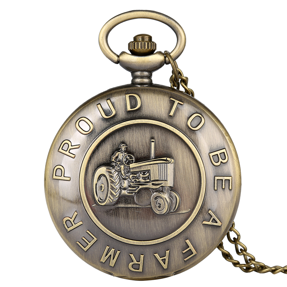 Bronze Proud To Be A Farmer Tractor Pocket Watch Necklace Chain Pendant Watch Antique Clock Unisex Gifts Reloj De Bolsillo