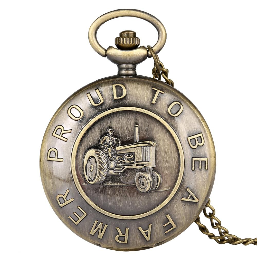 Bronze Proud To Be A Farmer Tractor Pocket Watch Necklace Chain Pendant Watch Antique Clock Unisex Gifts Reloj De Bolsillo