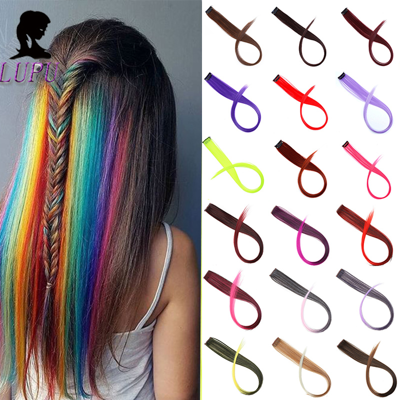 LUPU Long Straight Rainbow Colored Hairpieces Clips In Hair Extensions Synthetic Heat Resistant Single Clip In One Pieces
