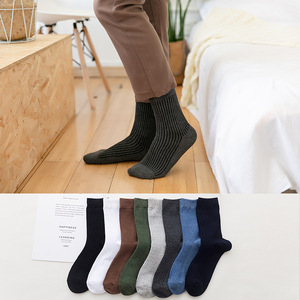 Image 4 - 10 Pairs New Autumn Winter Mens Socks Cotton Casual Socks Mens Vertical stripes Solid Color Male Socks High Quality