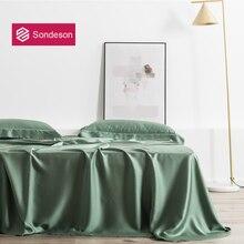 Sondeson Luxury Beauty Green 100% Silk Flat Sheet 25 Momme Silk Queen King Healthy Skin Bed Sheet Pillowcase Free Shipping 3PCS