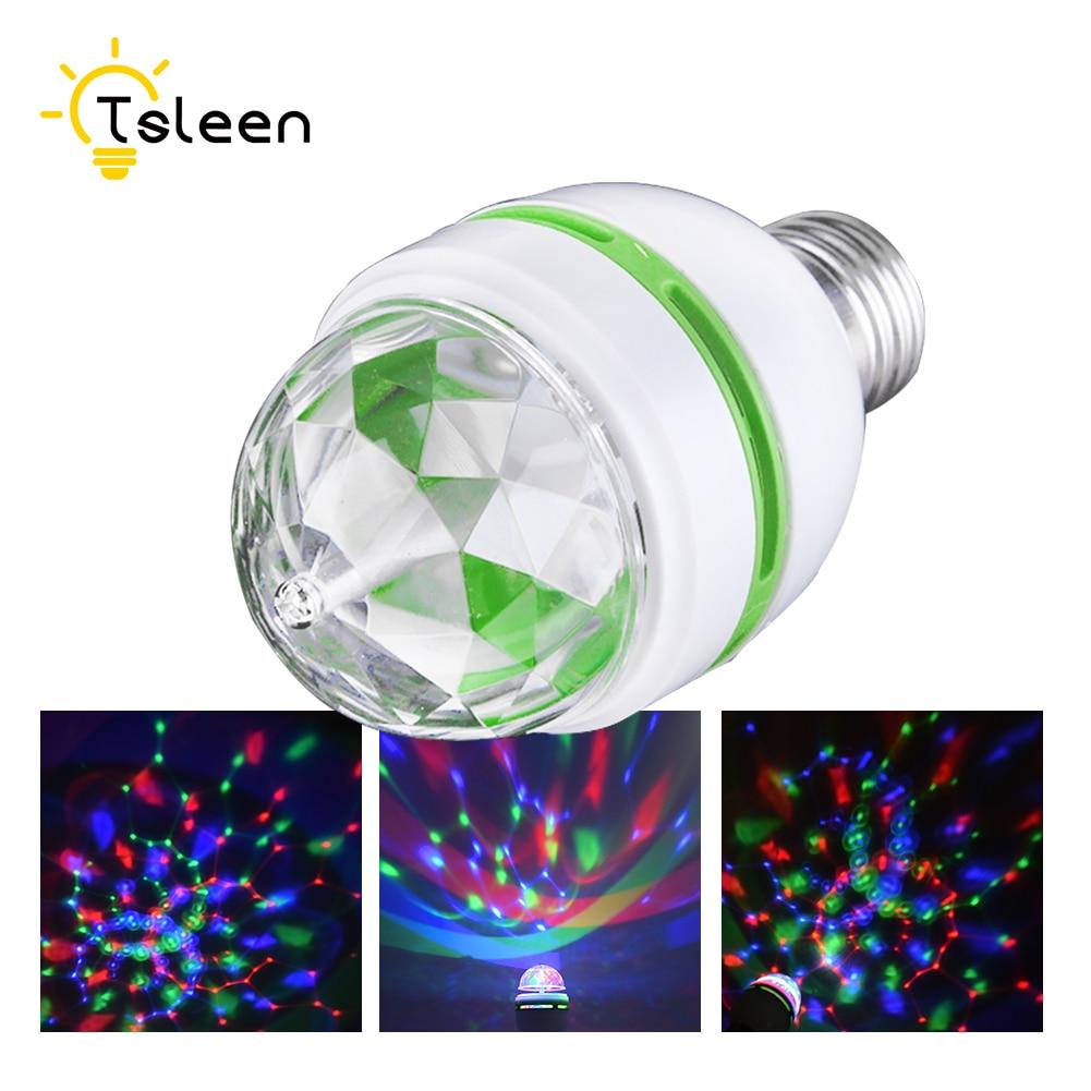 E27 AC 110V 220V 240V LED Stage Light/Lamp RGB Party Lights 3W Colorful Bulbs DJ Light Show Auto Rotating Lamps Romantic Lampada
