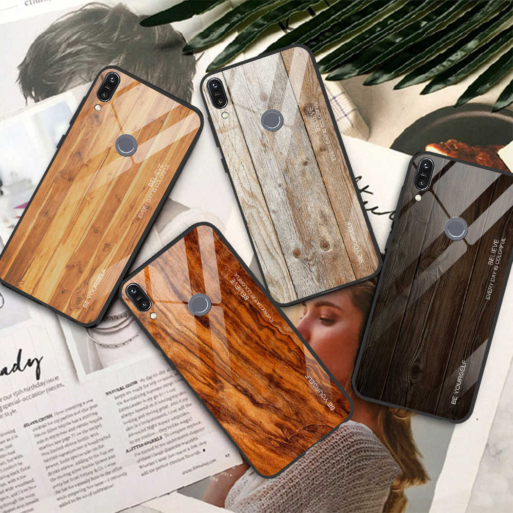 Luxury Tempered Glass Phone Case For For Asus Zenfone Max Pro M2 Cover Case M1 ZB631KL ZB602K ZB602  ZB633KL Wooden Case Coque