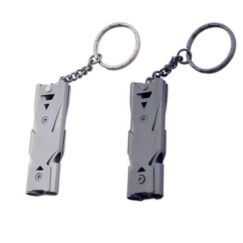 150db Emergency Survival Whistle Keychain Aluminum Alloy Outdoor Camping Hiking Accessory Tools SOS Double Tube Whistle Referee