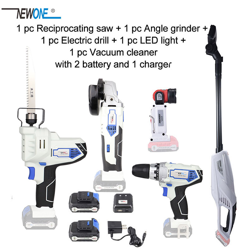 NEWONE Keinso 12V Angle grinder Electric drill LED light Vacuum cleaner Electric Saw with two lithium