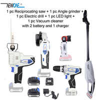 NEWONE/Keinso 12V Angle grinder Electric drill LED light Vacuum cleaner Electric Saw with two lithium battery and one charger