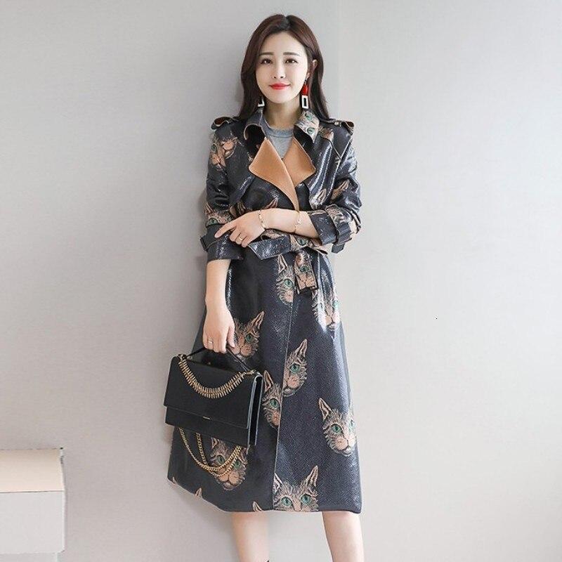 2020 New Autumn Women Long Coats Fashion Printing Lapel Collar Overcoat Elegant Slim Fit Belt Outerwear Female Plus Size M-2XL