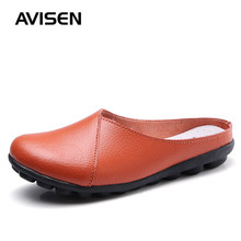 2019 New Summer Fashion Women Flat Shoes Woman Cow Leather Slip On Ballet Flats Comfortable