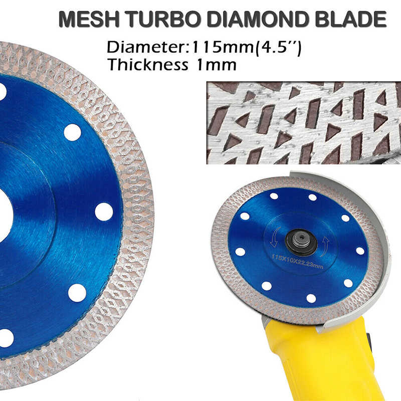 105/115/125 Mmturbo Diamond Saw Blade Disc Porselen Ubin Keramik Marmer Granit Cutting Blades untuk Sudut Penggiling