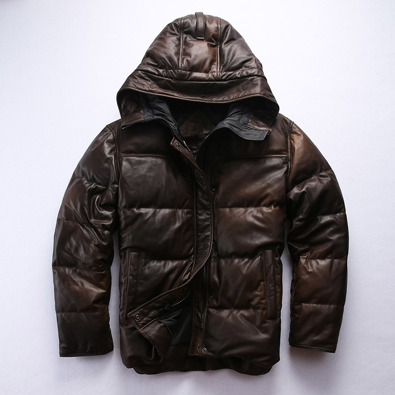 2020 men's hooded down winter genuine leather coat men vintage Camouflage brown causal sheepskin jacket male