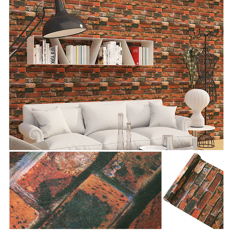 45*100cm Rustic Vintage 3D Faux Brick Wallpaper Roll Vinyl PVC Retro Industrial Loft Wall Paper Red Black Grey Yellow Washable